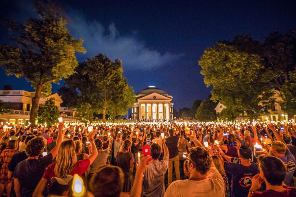 A candle-lit vigil was held at the University of Virginia after the Charlottesville white supremacist march in 2017.